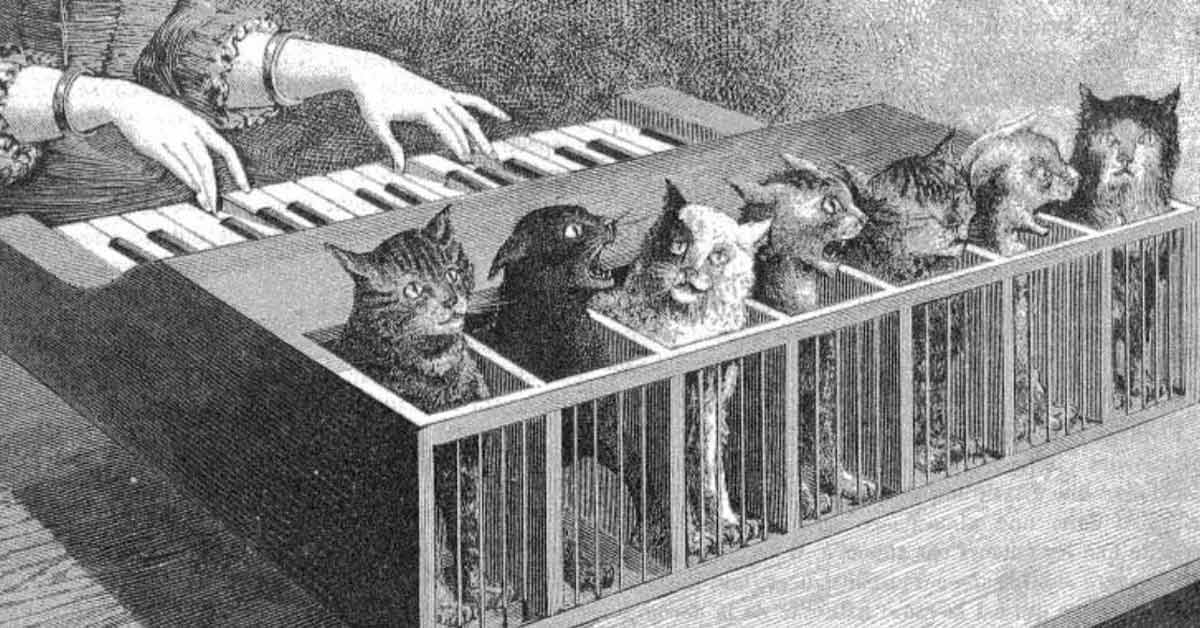 piano made of howling cats